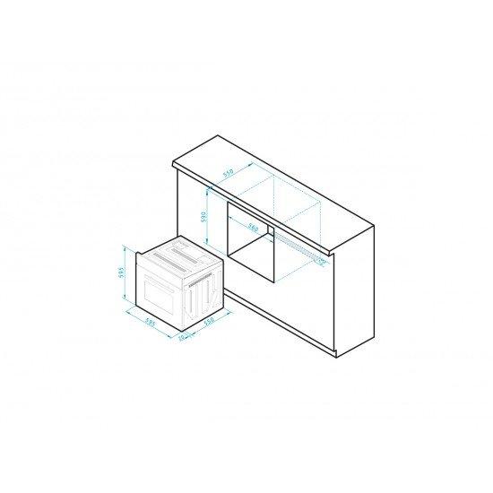 Pyramis 60ΑΠ 2240 (034002901) εντοιχιζόμενος - αυτόνομος φούρνος άνω πάγκου