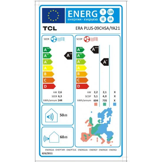 TCL Era Plus 09CHSA/YA21 Κλιματιστικό Τοίχου με ενσωματωμένο WiFi
