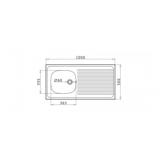 Pyramis International 1B 1D (100x50) (100100201) επικαθήμενος νεροχύτης