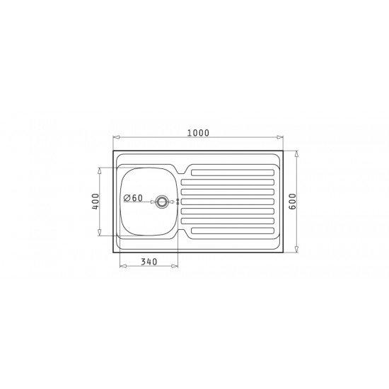 Pyramis International 1B 1D (100x60) (100103601) επικαθήμενος νεροχύτης